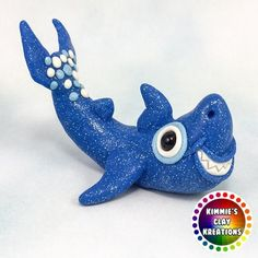 Polymer Clay Shark - Cake Toppers, Jewelry Pendants, Ornaments, Figurines, Characters, Sculptures, Miniatures - Cute Collectible Whimsical - Kimmie's Clay Kreations