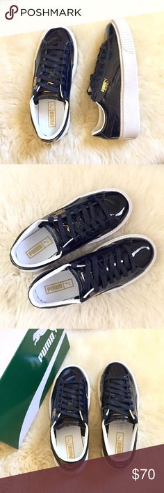 3f62ffbbc6d5 Puma Patent Leather Flatform Sneaker New In Box - Peacoat Puma Platform  Sneakers With round toe