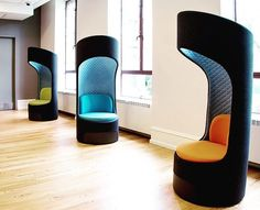 Tune out distractions with KI's Connection Zone Privacy Booth! Its unique design creates personal spaces in open environments. Retreat into A Privacy Booth to make a call, check email or to simply break away. #ispyki #design #officedesign #lobby #highered