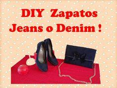 """DIY Como Forrar Zapatos con tela Jeans, Denim """"Customizar, Renovar, Reci..."""