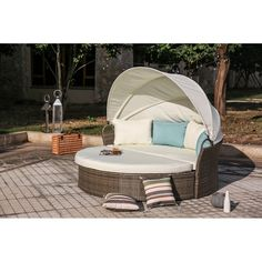 Beachcrest Home Harlow Patio Daybed with Cushions Daybed Sets, Daybed Canopy, Patio Daybed, Outdoor Daybed, Patio Lounge Furniture, Outdoor Furniture, Outdoor Decor, Waterproof Cushions, Outdoor Cabana