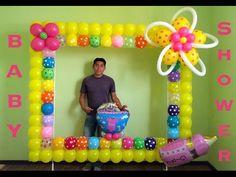 Marco para fotos con globos para baby shower - YouTube