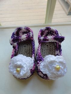 Baby Girl Cotton Crochet Shoes / Ballerina  with flower 0-3 month  ~ wildberry~ #Ballerina