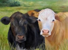 Large Cow Art  Painting Ms Charity And Ms Grace by ChatterBoxArt, $1200.00
