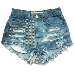 Studded denim high waist shorts XS ($45) ❤ liked on Polyvore featuring shorts, bottoms, short, pants, checkered shorts, high-waisted denim shorts, high-rise shorts, high rise denim shorts and bleached shorts