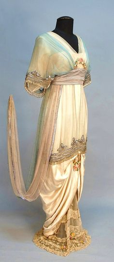 Túnica sobreposta (orientalismo), recorte império, saia funil, vestido de 1914