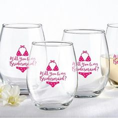 fbae90d7e67 Personalized Stemless Wine Glass Favors - Engagement | Bridal Shower |  Bachelorette Party