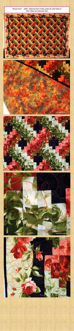"Detailed pictures of ""Weaver Fever"" quilt Quilting Tutorials, Quilting Projects, Quilting Designs, Quilting Ideas, Bright Quilts, Small Quilts, Strip Quilts, Quilt Blocks, Wildlife Quilts"