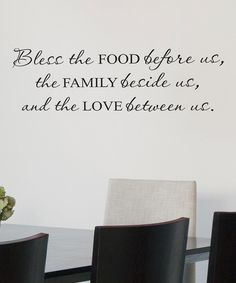 Take a look at this Black 'Bless the Food Before Us' Wall Quote on zulily today!