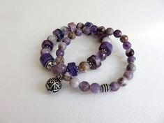 Stretch Bracelet Set, Stackable Bracelet Set, Gemstone Bracelet, Amethyst Bracelet, Chariote Bracelet, OOAK, Colorful Bracelet Set, Bali