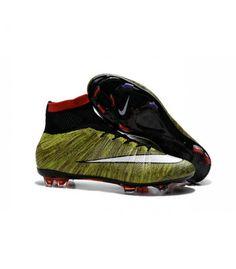 Acheter Nouveau Chaussure de Football Nike Mercurial Superfly CR FG Volt Noir Blanc Multicolore pas cher en ligne 114,00€ sur http://cramponsdefootdiscount.com