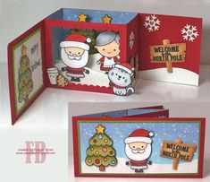 53 Ideas For Diy Christmas Cards Pop Up Projects - Christmas crafts Diy Christmas Cards Pop Up, Xmas Cards, Handmade Christmas, Holiday Cards, Christmas Crafts, Fun Fold Cards, Folded Cards, Pop Up Box Cards, Greeting Cards Handmade