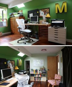 JEFF & MARY'S GREEN DREAM HOME OFFICE // I'd like those drawers under the desk. simple & organized.