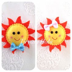 Bright n sunny Felt Patterns, Stuffed Toys Patterns, Handmade Ornaments, Handmade Christmas, Diy For Kids, Crafts For Kids, Baby Banners, Girl Scout Swap, Felt Hair Clips