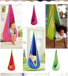 Your kiddos will have a blast with this indoor/outdoor hammock! Why wait for a sunny day to swing and relax??! Type: Hammock Maximum load: 176lbs Material : Cotton cloth Fitting: Rope Buckle Age Group: 3-10 Year old boys and girls