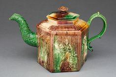 England, Staffordshire Hexagonal Teapot, 1750-60