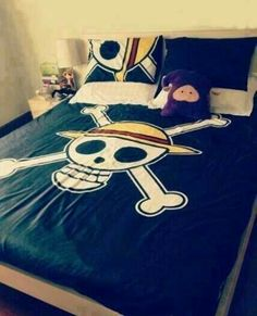 One Piece Straw Hat Pirates, Mugiwara, Jolly Roger, bed sheets, blanket, bed set; Anime Stuff I Want