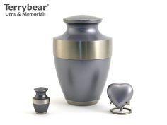Terrybear Starlight Blue Lineas Collection: Large Cremation Urn, Keepsake and Heart Keepsake