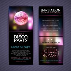 Disco Party Invitation Cards Creative Vector Free Vector In Bowling Party Invitations, New Years Eve Invitations, Cocktail Party Invitation, 1st Birthday Party Invitations, Holiday Party Invitations, 18th Birthday Party Themes, Dance Party Birthday, Graduation Party Themes, Disco Theme