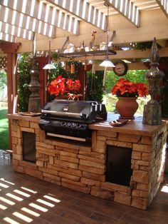 56 Fantastic Outdoor Kitchen Designs: 56 Fantastic Outdoor Kitchen Designs With Stone Kitchen Island And Flower Vase Decor And Wooden Beams Design
