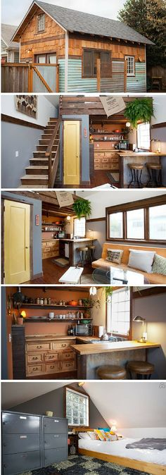 A cozy 350 sq ft Oregon cottage you can rent on Airbnb. - Love the kitchen in this Tiny House! Tiny House Cabin, Tiny House Living, Tiny House Plans, Tiny House Design, Design Homes, Cottage House, Living Room, Casas Containers, Tiny House Movement