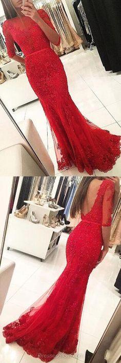 Mermaid Scoop Neck Prom Dress,Lace Prom Dress,Beading Prom