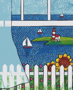 Modern cross stitch kit by Shelagh Duffett 'Ocean by GeckoRouge