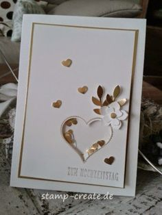 nice idea - Das Herz ist ein Schüttelrahmen - Stamp and Create: Die goldene 50 Cool Cards, Diy Cards, 50th Anniversary Cards, Golden Anniversary, Karten Diy, Shaker Cards, Card Making Inspiration, Valentine Day Cards, Creative Cards