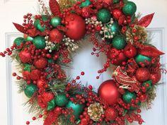 Red Green Heirloom Christmas Wreath, Ornament Wreath, Holiday Wreath, Evergreen Wreath on Etsy, $276.50