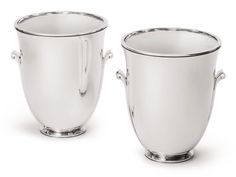 Harald Nielsen RARE PAIR OF WINE COOLERS, NO. 725B marked on bases for 1933-44 silver 25.4 cm height 10 in. 138 oz 4298 g designed circa 1934 Georg Jensen Silversmithy, Copenhagen