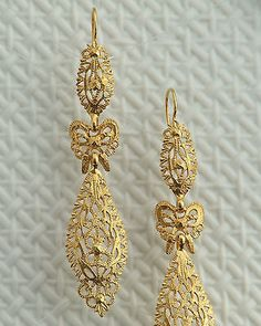 gold plated sterling silver 925 filigree earrings lace bow dangle portugal bride