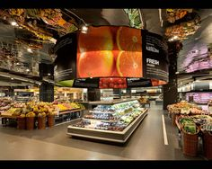 Ole' Supermarket Store Fixtures That Reflect the World Environment MixC, Cheng Hua District, Chengdu, China Shop Interior Design, Retail Design, Store Design, Restaurant Hotel, Restaurant Design, Visual Merchandising, Vegetable Shop, Food Retail, Retail Interior