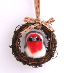 Needlefelted Bird Red Breasted Robin Mini by feltmeupdesigns, £16.00
