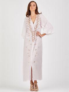 6157a7014 MOONOIR-Powder Blush Embellished Kaftan #kaftan #Abaya #Fashion #Arabic  #beaded