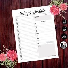Hourly Planner Printable, Daily Schedule, Agenda, 2016 Daily Organizer Page, A5, A4, Letter Size, Daily Planner, Filofax, Kikki K Large, PDF
