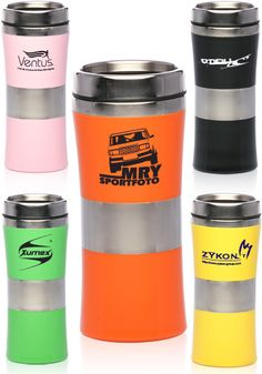 Glossy colored plastic & stainless steel travel mugs personalized & custom printed for coffee shops, stores and promotional events.