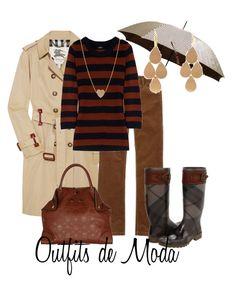 Días de Lluvia by outfits-de-moda2 on Polyvore featuring moda, J.Crew, Burberry, Irene Neuwirth and Gogo Philip