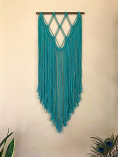 Macrame Wall Hanging Hand Dyed Teal Cotton Rope on Wooden