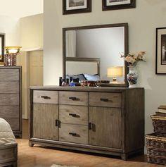 Antler Transitional Natural Ash Solid Wood Dresser and Mirror