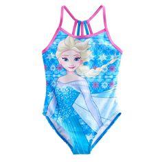 Disney's Frozen 4-6x Elsa Racerback One-Piece Swimsuit, Girl's, Size: 5-6, Blue