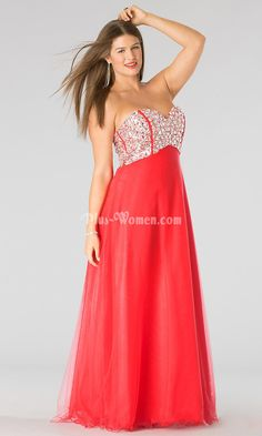 strapless empire watermelon tulle long plus size prom gown