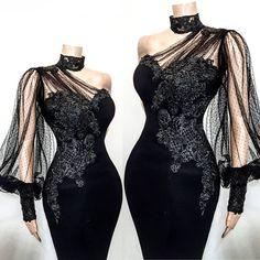 One shoulder black long prom dress , lace prom dress CR 12104 Elegant Dresses, Beautiful Dresses, Nice Dresses, Dresses With Sleeves, African Fashion Dresses, African Dress, Evening Dresses, Prom Dresses, Formal Dresses
