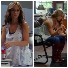 "Melinda Gordon's (Jennifer Love Hewitt) white tank top with blue polka dots, blue undershirt, jeans, and brown leather boots on Ghost Whisperer Season 5 Episode 1 ""Birthday Presence"""