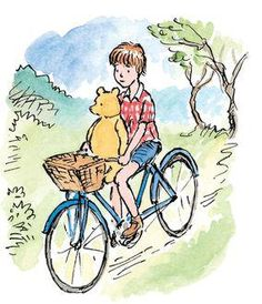 Christopher Robin was riding his bicycle, and Pooh was perched on the crossbar Whinnie The Pooh Drawings, Winnie The Pooh Cartoon, Winnie The Pooh Classic, Love Is Cartoon, Christopher Robin, Pooh Bear, Tigger, Eeyore, Ride Drawing