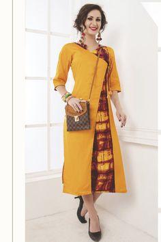 Yellow-Stylish-Cotton-Event-Wear-Long-Kurti-Elina-Karishyaa-Catalouge-5