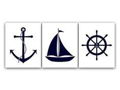 UNFRAMED PRINTS (CHOOSE YOUR SIZES) - Set of 3 Navy and White Nautical Prints - KIDS87 Wall Art Boutique http://smile.amazon.com/dp/B00KXRYRZO/ref=cm_sw_r_pi_dp_jmLYub0X7RGJ4