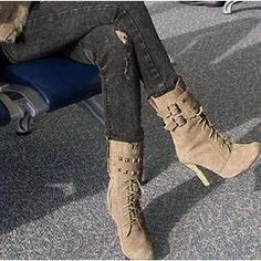 Buckle lace up boots. Back in style again!