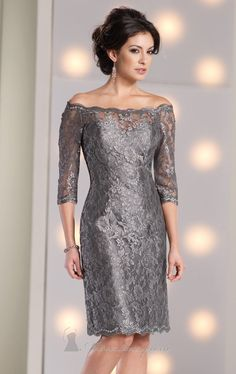 Look both lovely and classy in Social Occasions by Mon Cheri 213899. This slim A line cocktail dress is made of lace over taffeta. The fitted bodice features a scalloped off-the-shoulder neckline with elbow length sleeves and a sheer keyhole back design.