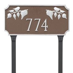 Montague Metal Products Camden Ivy 1 Line Address Plaque Finish: White/Gold