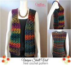 Unique Shell Vest FREE crochet pattern #cr8tioncrochet Maybe in a different ombre? Like blues